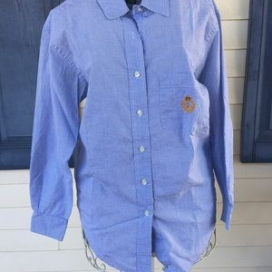 Ralph Lauren Blue and White Button Down Top